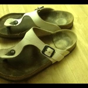 Birkenstock white leather thing sandals size 7